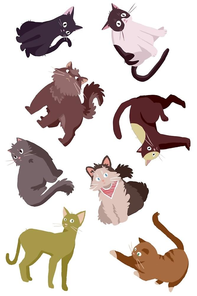 8 cat assorted cat stickers by Amanda Pszczolkowski