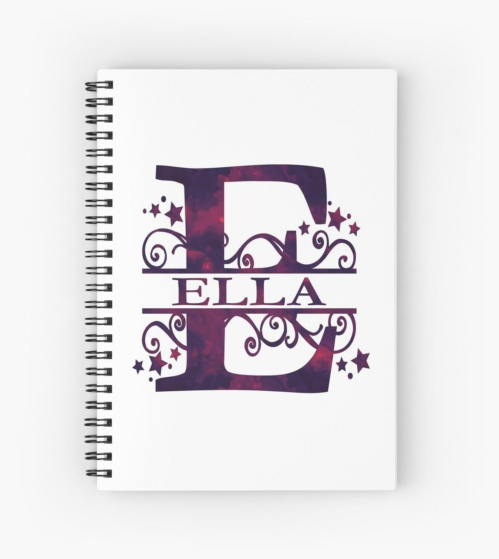 Ella | Girls Name and Monogram in Dark Purple by PraiseQuotes