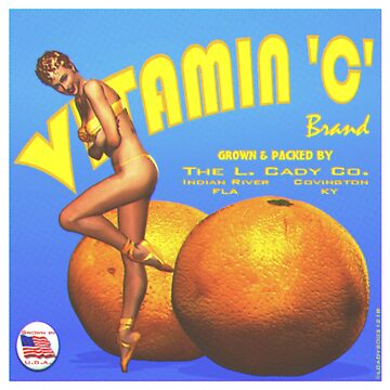 Fruit crate label pin up Halftone Vitamin C brand  by Lowtech