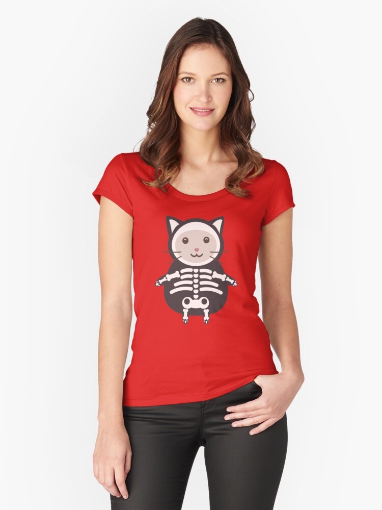 Kitty Skeleton Costume Women's Fitted Scoop T-Shirt Front