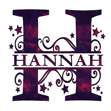 Hannah | Girls Name and Monogram in Dark Purple by PraiseQuotes