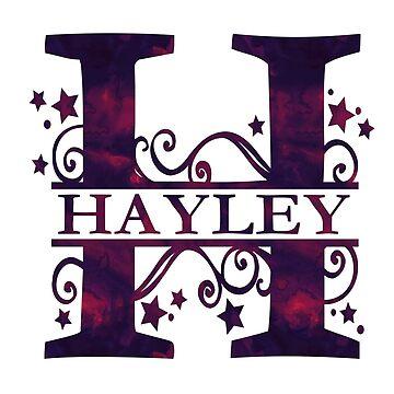 Hayley | Girls Name and Monogram in Dark Purple by PraiseQuotes