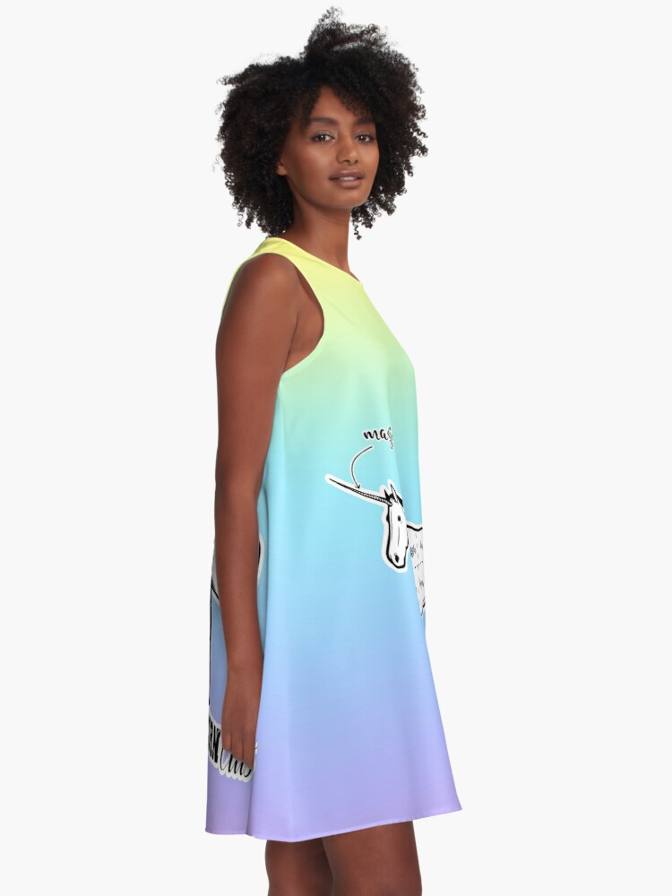 Alternate view of Unicorn cuts retro funny meat from unicorns bacon cut on pastel rainbow flag candy cute background sarcastic meme (see description for more) HD HIGH QUALITY ONLINE STORE A-Line Dress
