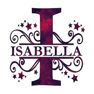 Isabella | Girls Name and Monogram in Dark Purple by PraiseQuotes