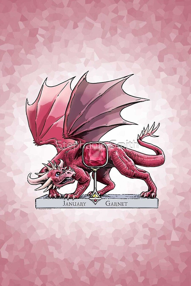 Birthstone Dragon: January Garnet Illustration by Stephanie Smith