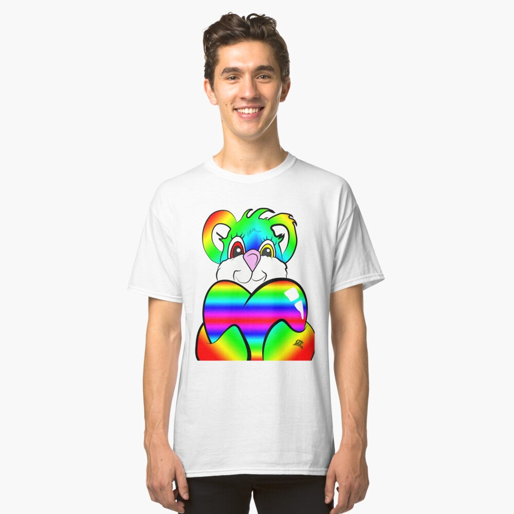 Rainbow Psychedelic Teddy Bear Classic T-Shirt Front
