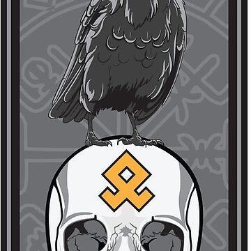 Valhalla Raven Rune Crest Military Patch by Weirsbowski