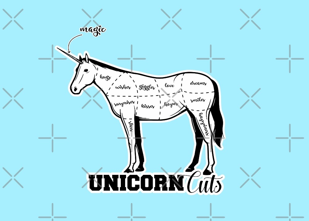 Unicorn cuts retro funny meat from unicorns bacon cut on pastel blue baby boy background sarcastic meme (see description for more)  HD HIGH QUALITY by iresist
