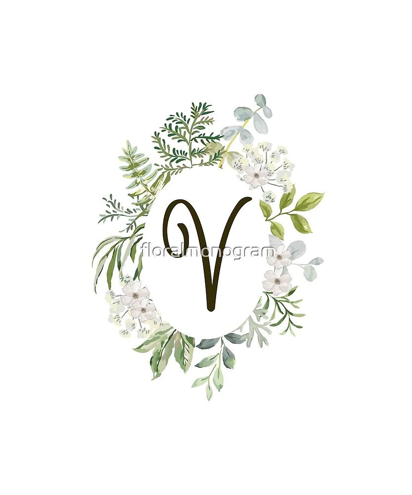 Monogram V Forest Foliage Oval by floralmonogram