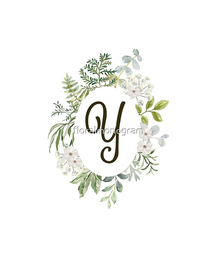 Monogram Y Forest Foliage Oval by floralmonogram