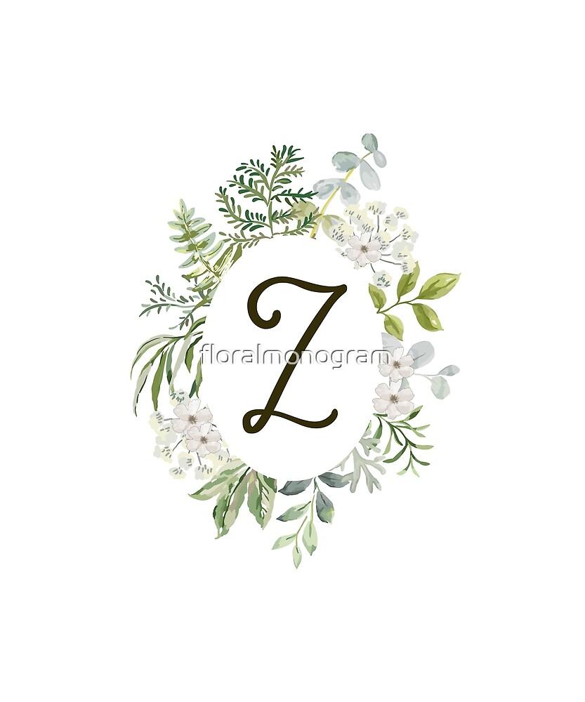 Monogram Z Forest Foliage Oval by floralmonogram
