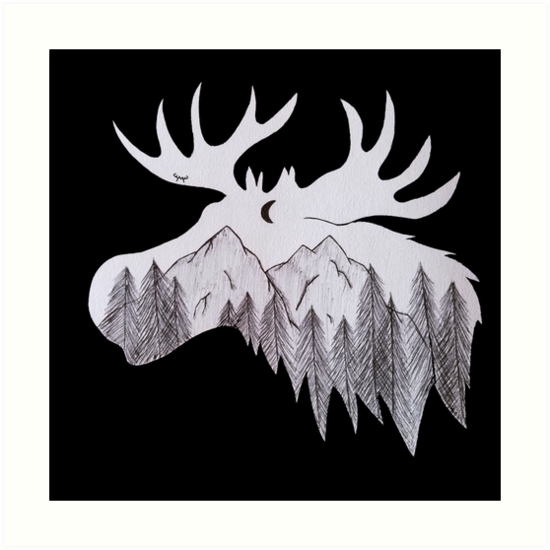 Mountains of the moose. print by Moosehead88