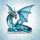 Birthstone Dragon: March Aquamarine Illustration by Stephanie Smith
