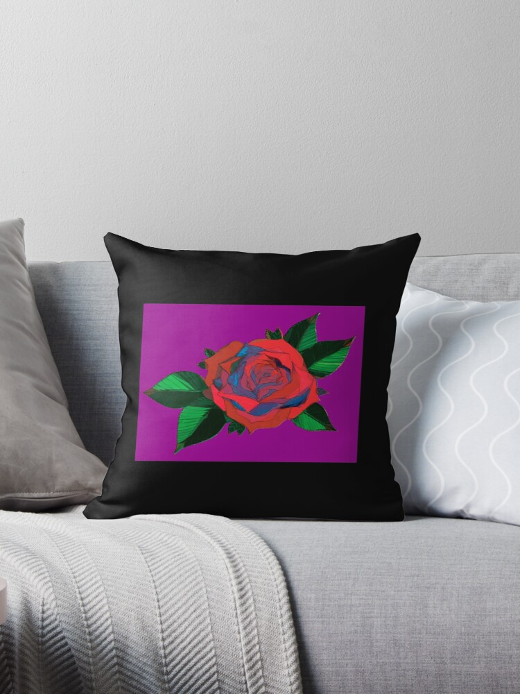 Faux Cubism Style Rose New School Tattoo Design Flower and Leaves by SciFiPopArt
