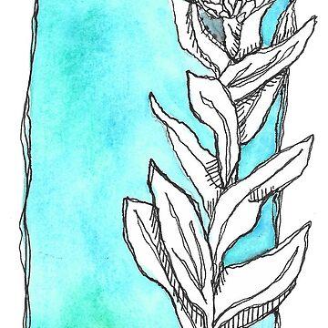 Green Watercolor Flower by calyla
