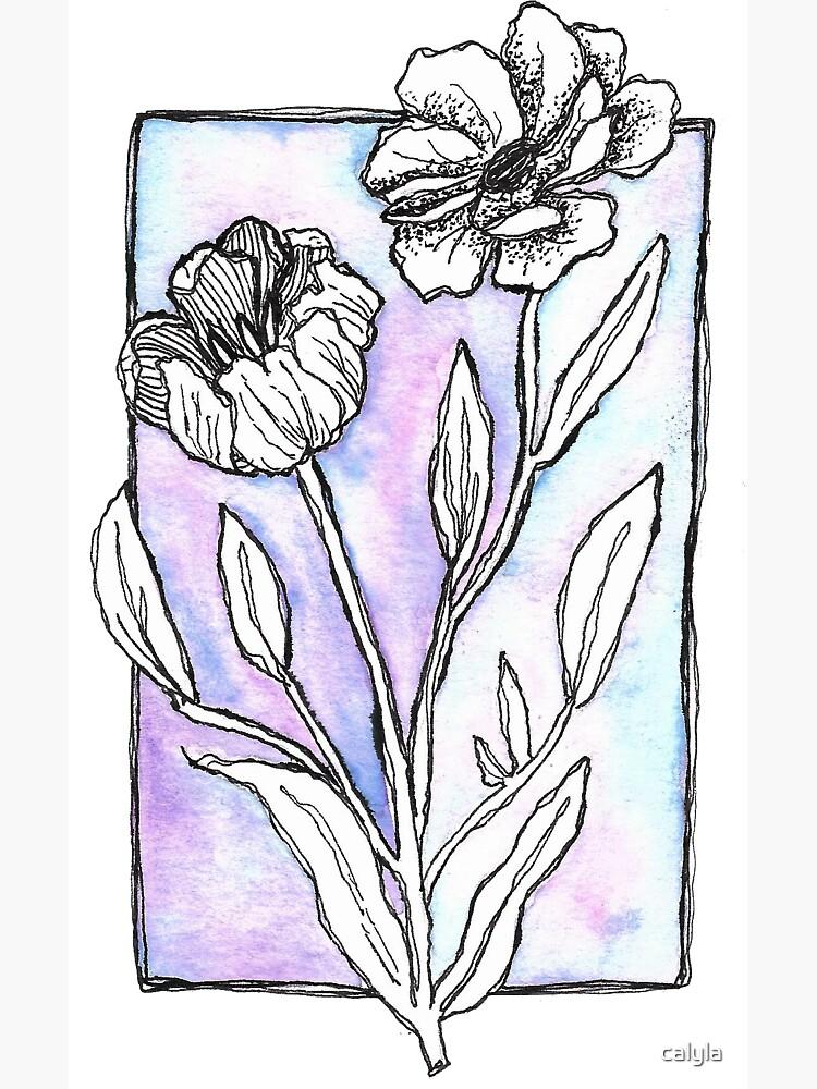 Purple Watercolor Flowers by calyla