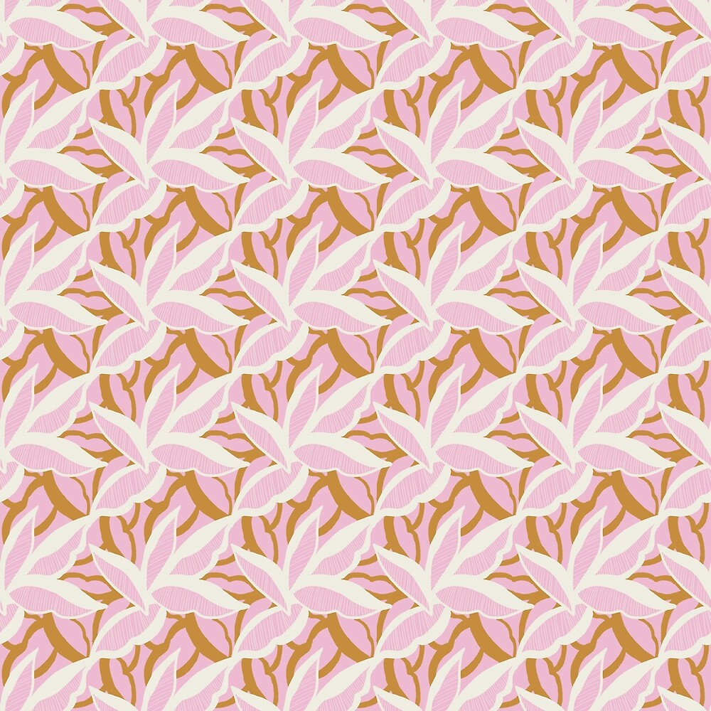 White and gold stylised leaves on pink by Pattern-Design