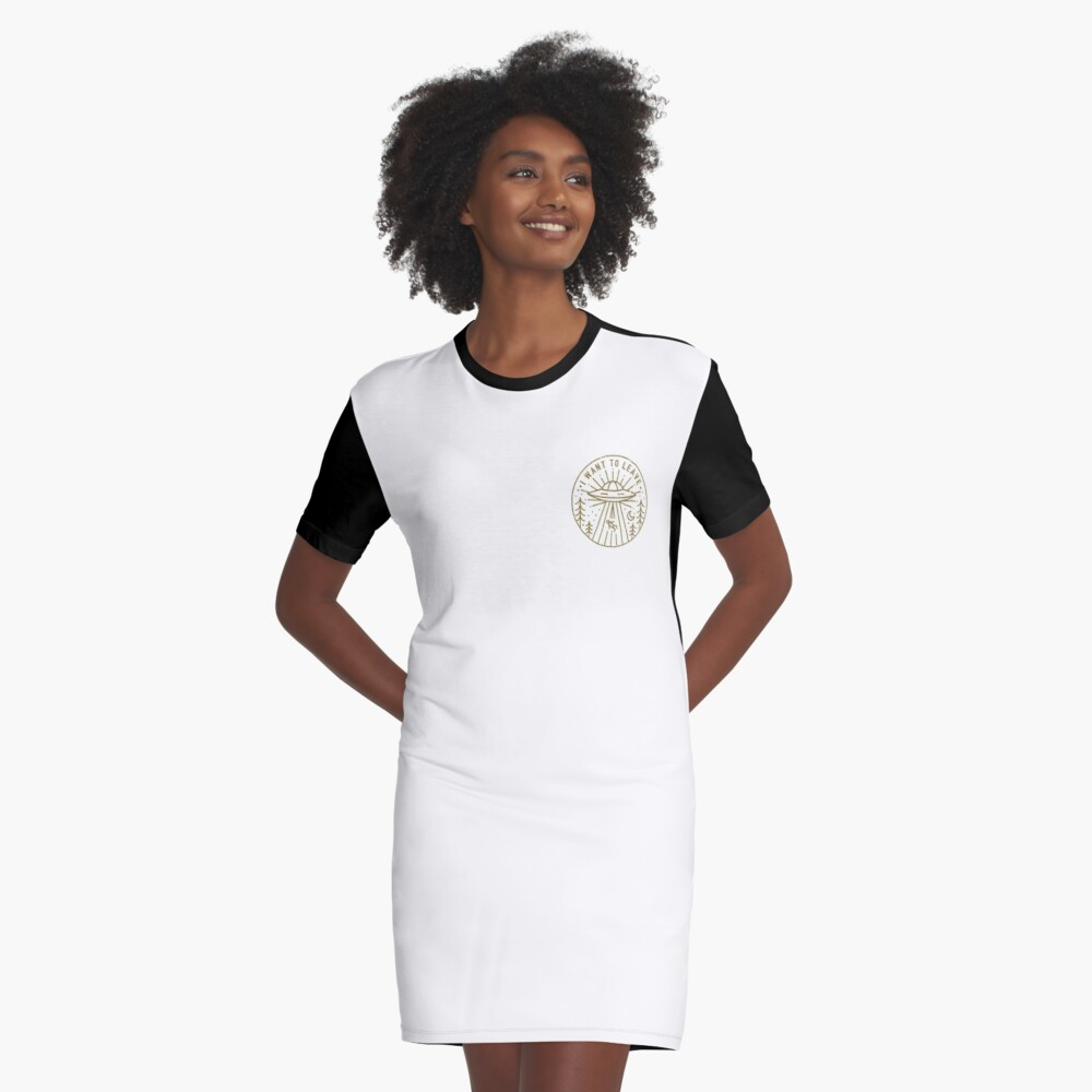 I Want To Leave - Pocket Graphic T-Shirt Dress