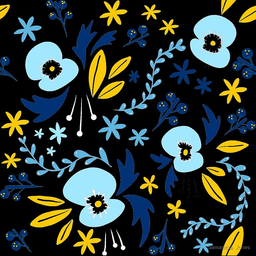Black and Blue Poppies by Samantha  Jones