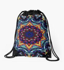 Stained Glass Kaleidoscope Drawstring Bag
