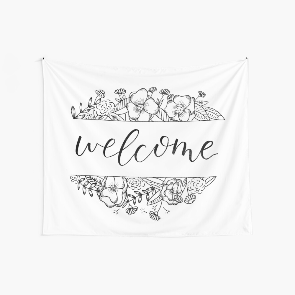 Welcome Florals Wall Tapestry