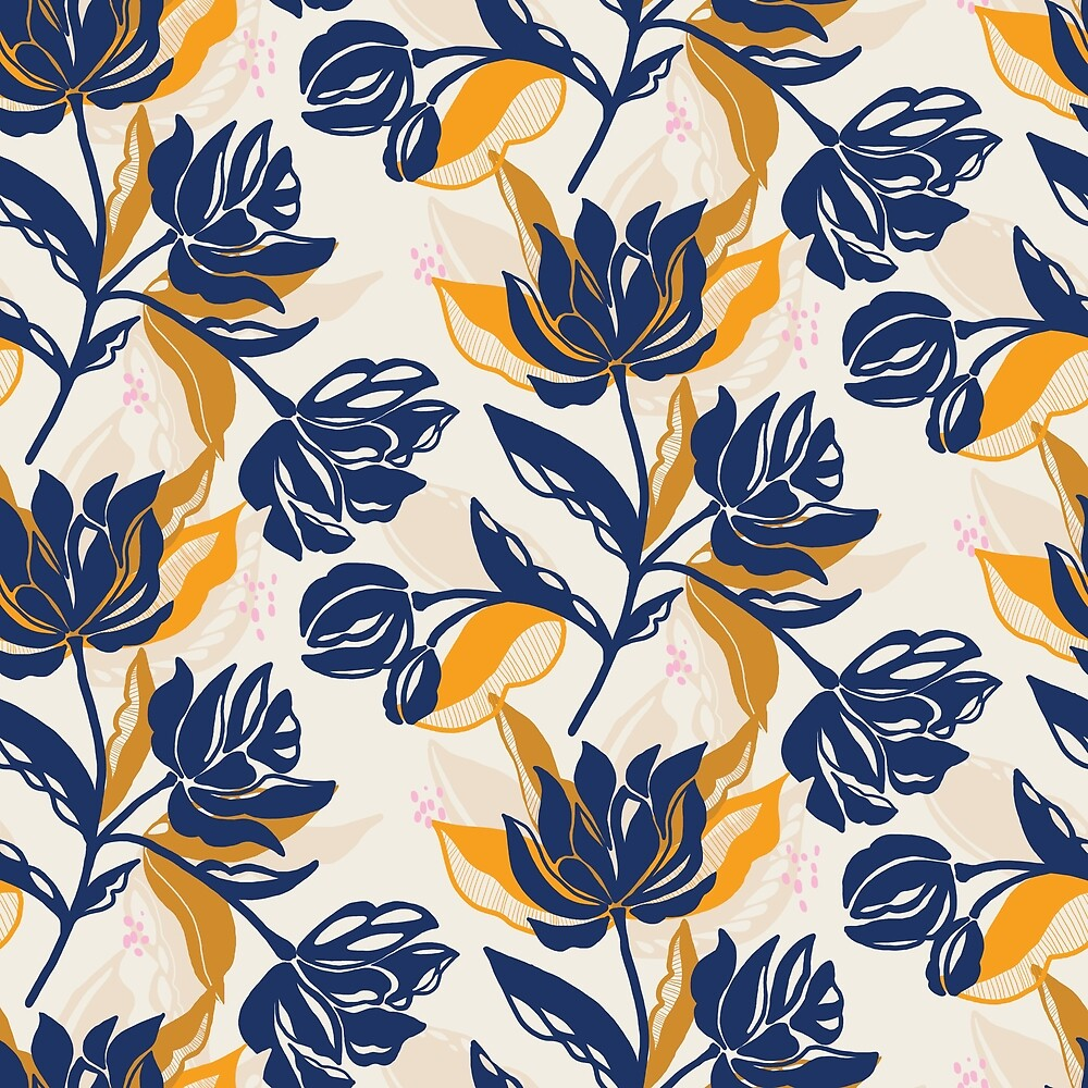 Navy blue bold floral on cream by Pattern-Design