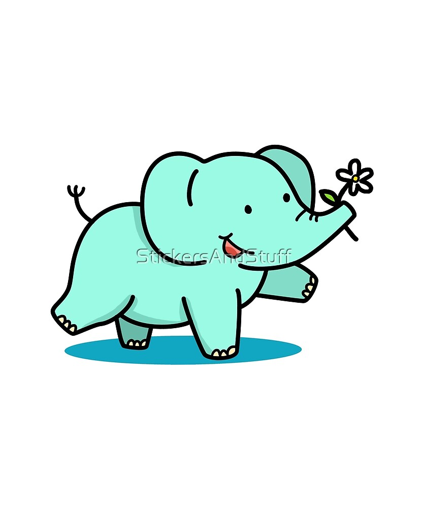 Cute Elephant with Flower by StickersAndStuff