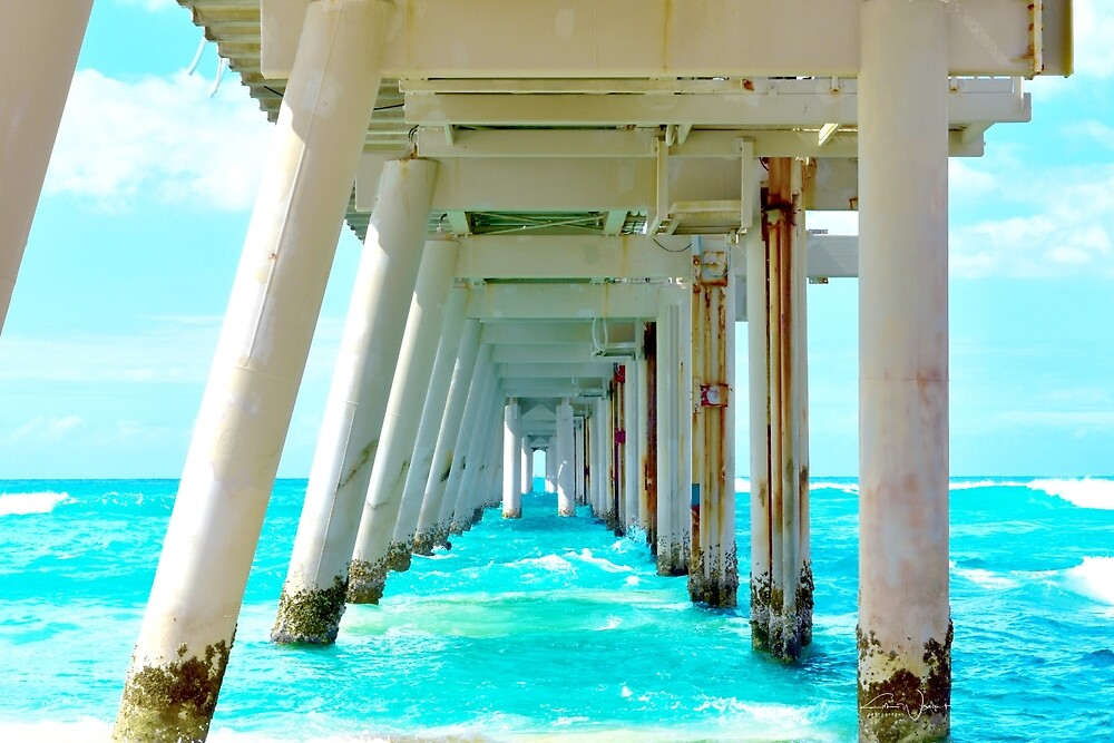 Bridge Over Beautiful Views - Beach  by KimWrightPhotos