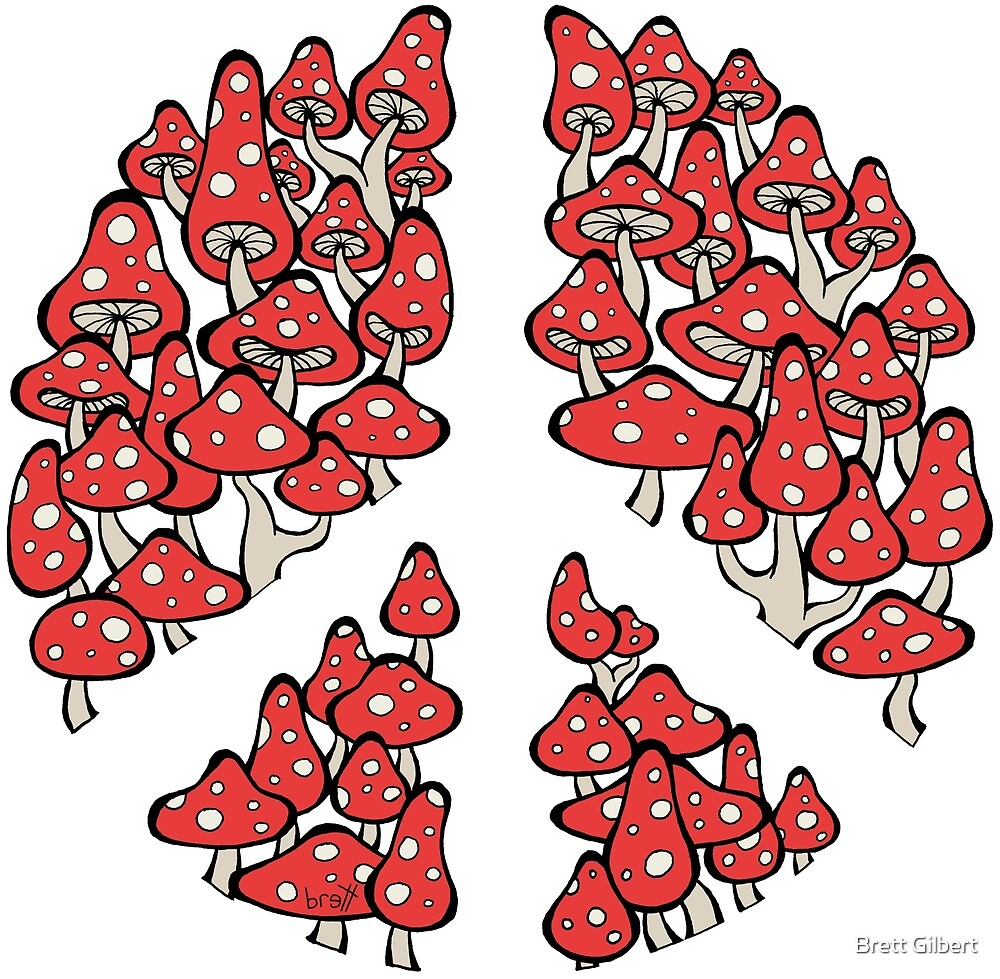 Mushrooms Peace Symbol (red color version) by Brett Gilbert
