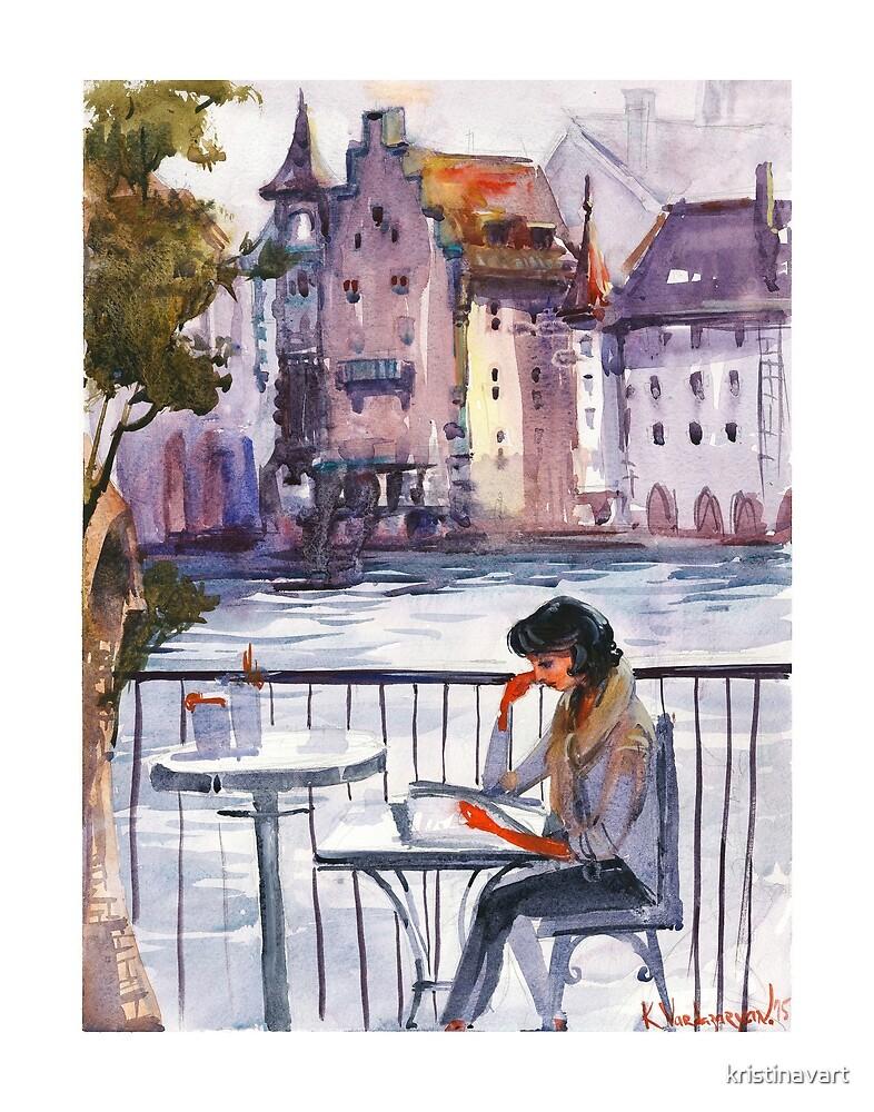 Beautiful Day Reading Watercolors  by kristinavart