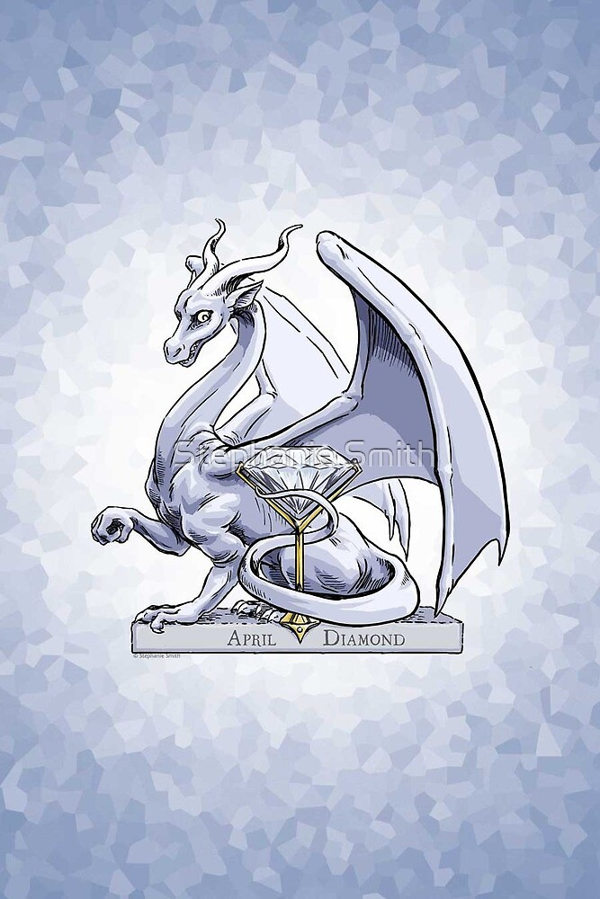 Birthstone Dragon: April Diamond Illustration by Stephanie Smith
