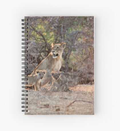 LAST LIGHT MOTHER AND CUBS - THE LION – Panthera leo Spiral Notebook