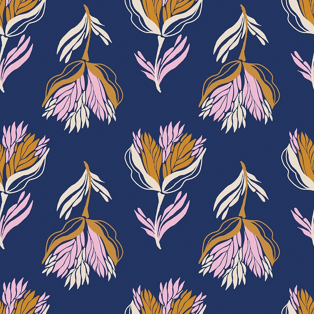 Pretty bold floral in pink and gold on navy by Pattern-Design