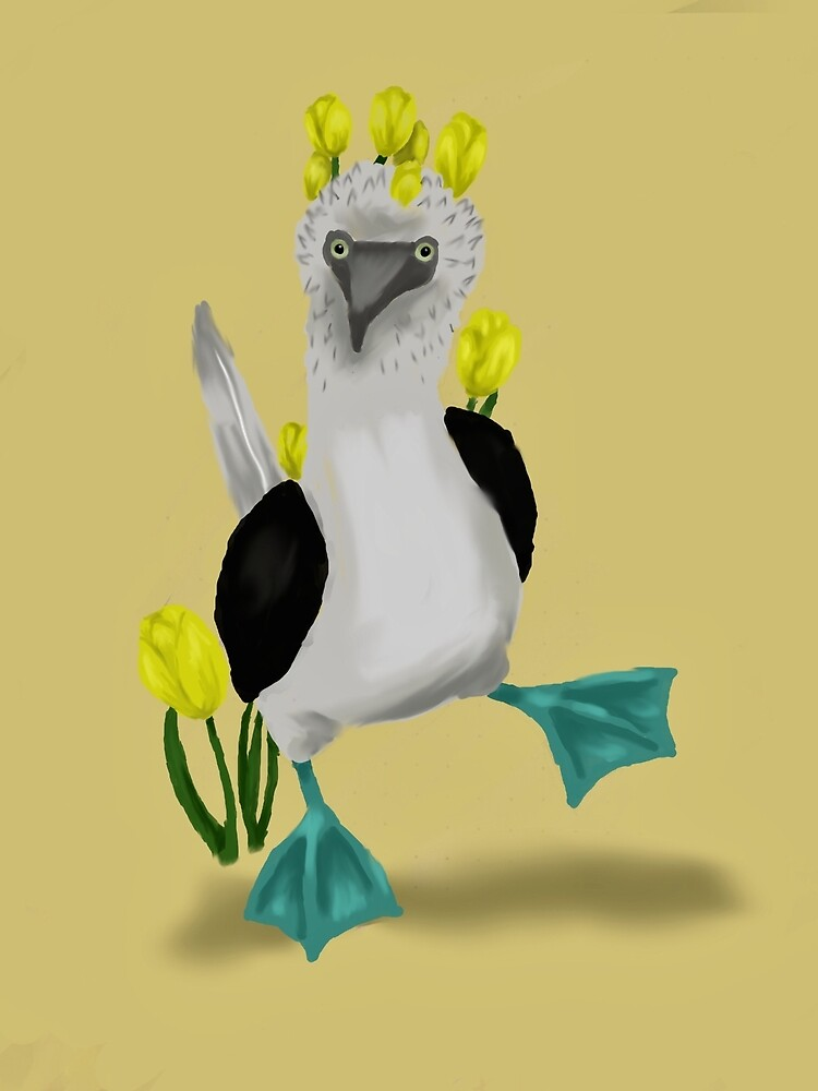 Blue Footed Booby with Tulips by Amy2311