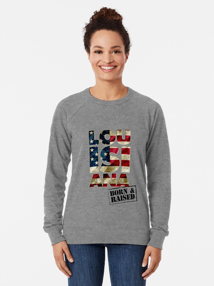 Alternate view of Louisiana Fan Gift Sports Football US Flag Proud Strong Awesome Design (3) (2) Lightweight Sweatshirt