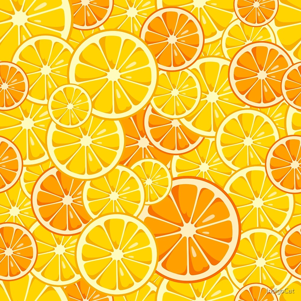 Lemon and orange slices seamless pattern. by IndigoCat