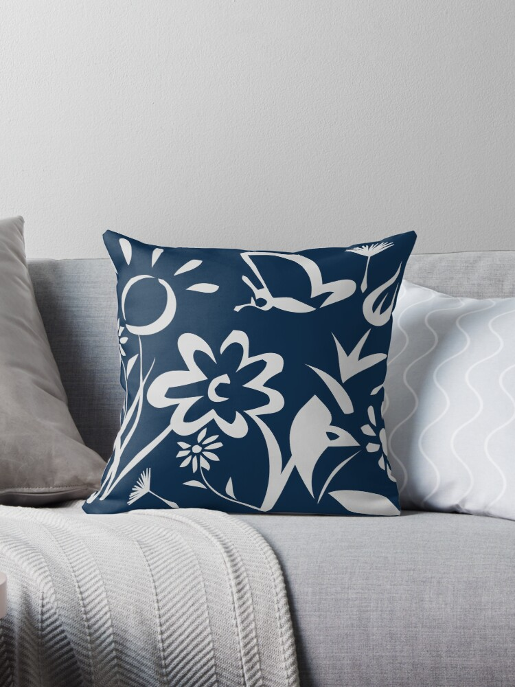Navy Blue Floral Pattern  by Oirabot