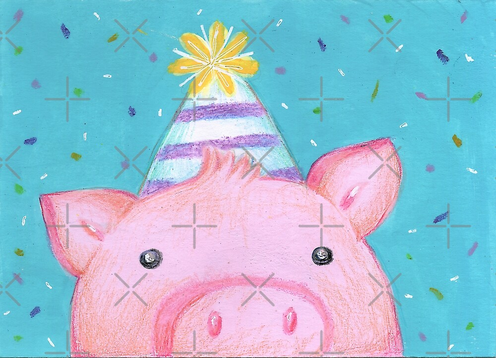 Happy Birthday cute pig with party hat by muniko-drawings