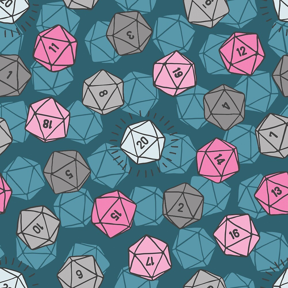 Tossed d20 in Teal & Pink by MadeByMoonpuff