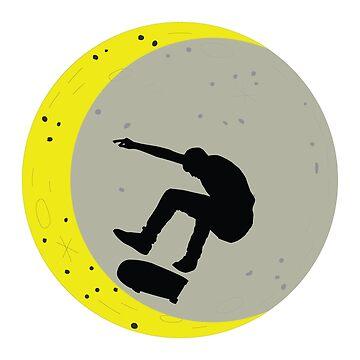 Skateboard Kick Flip OnThe Moon Silhouet Skateboarder by miracletee