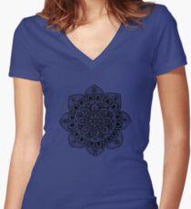 Black Mural Mandala - Art&Deco By Natasha Women's Fitted V-Neck T-Shirt