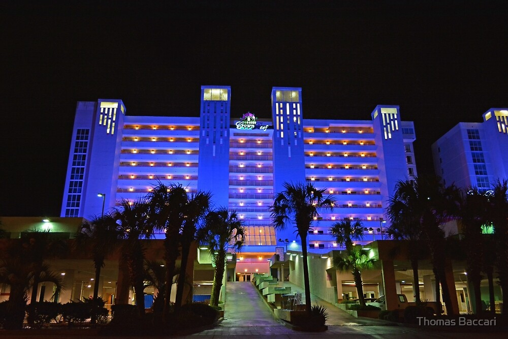 Myrtle Beach Hotel at Night by TJ Baccari Photography