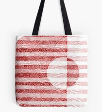 Red Ink Square Circle Design Tote Bag