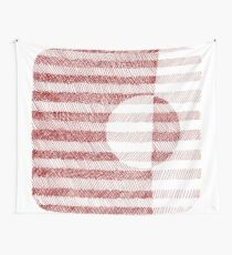 Red Ink Square Circle Design Wall Tapestry
