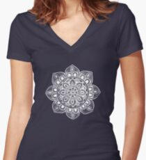 White Mural Mandala - Art&Deco By Natasha Women's Fitted V-Neck T-Shirt