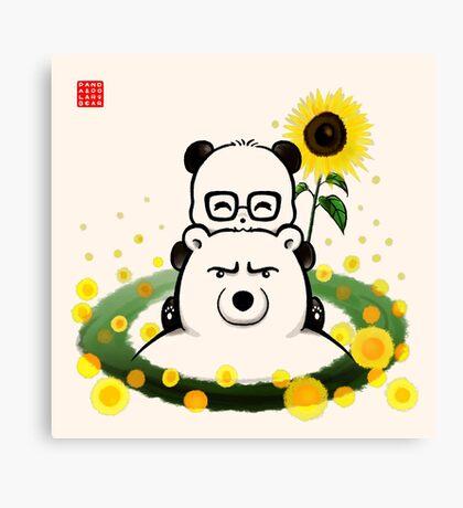 Bears and Sunflowers Canvas Print