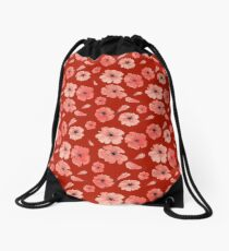 Red poppies pattern on red background Drawstring Bag