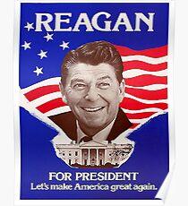 Reagan Bush '84 Retro Logo Red White Blue Election Ronald George 1984 84 Poster