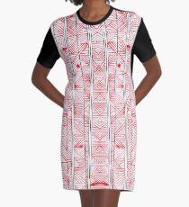 Hand Drawn Ink Pattern Graphic T-Shirt Dress