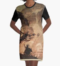 The Rhinegold & The Valkyrie by Richard Wagner art Arthur Rackham 1910 0305 Wotan Turns and Looks back at Brunnhilde T-Shirt Kleid